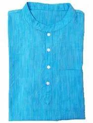 Blue Casual Men Short Cotton Kurta