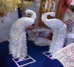 Iron & Satin White Decorative Peacock
