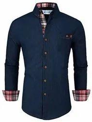 Cotton Plain Men Blue Party Wear Shirt