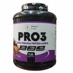 Fitness Freak Pro 3 Protein Flavor Chocolate , French Vanilla, Strawnberry