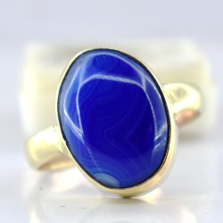 SSGJ Natural Agate Lab Certified Ring For Man And Women