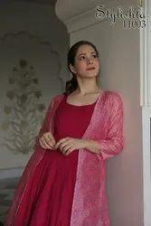 Muslin Casual Wear Stylishta Designer Gown, Handwash