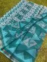 Party Wear Printed Ladies Trendy Kota Doria Saree, 6.5 Meter(with Blouse Piece)