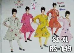 Rayon Casual Wear Floral Printed Kurti, Size: XL