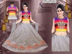 Chanderi Party Wear Floral Lehenga With Crop Top, 1.5 M