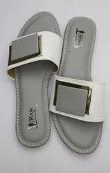 Slip On Casual Wear FLOOJO Ladies Grey Flat Sandal, Size: 7
