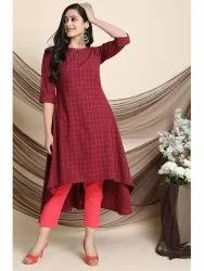 Janasya Women's Maroon Cotton Kurta With Pocket(J0133)