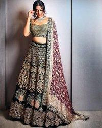 Present Designer Velvet Bridal Lahenaga Choli With Heavy Embroidery Work