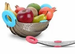 Silver Collapsible Steel Bowl, For Home