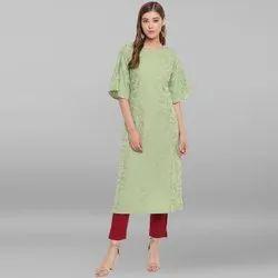 Janasya Women's Light Green Poly Crepe Kurta(JNE3486)