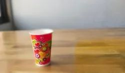 Yellow Printed 300ml Paper Cups, For Parties, Packet Size: 50