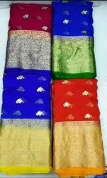 Organza with kanchi border with embroidery