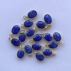 Natural Blue Sapphire Dyed Stone Bezel 925 Sterling Silver Gold Plated Necklace Pendant