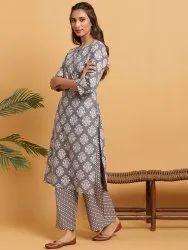 Janasya Women's Grey Cotton Kurta With Palazzo(SET260)