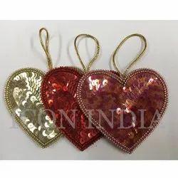 Handmade Christmas Hearts Hanging