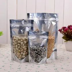 One Side Silver One Side Transparent Stand Up Zipper Pouches