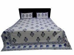 Pomegranate Plant Hand Block Print Bedsheet With Two Pillow