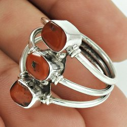 925 Sterling Silver Coral Three Gemstone Ring