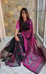 Casual Wear Printed Silk Cotton Saree, 5.5 M (separate Blouse Piece)
