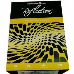 White Reflection A4 Paper 80 GSM, Packaging Size: 500 Sheets per pack, Packaging Type: Sink Packet
