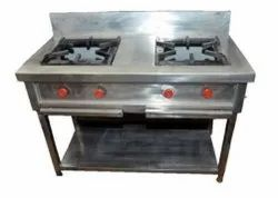 Silver Two Burner Commercial Gas Stove, For Kitchen, Size: 20 X 15 Inch
