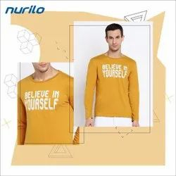 Full Sleeves Yellow Polyester Mens Round Neck T Shirt, Size: XL