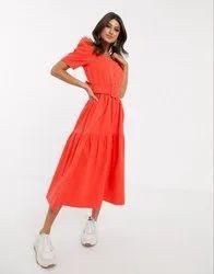 Plain Cotton Surplus Branded Ladies Long Dress