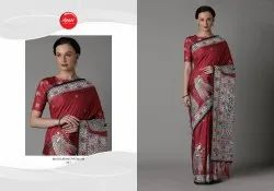 Apple Sarees Party Wear Printed Madhubani Saree, 6.3 M (with Blouse Piece)