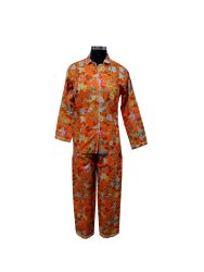 Orange Women Screen Print Night Suit