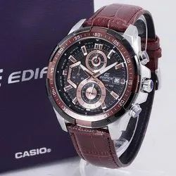 Men Round IMPORTED CASIO EDIFICE 539 BROWN BELT WATCH, For Personal Use
