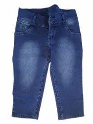 Slim Button Ladies Jeans Capri