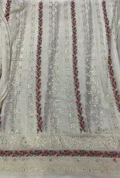 Georgette Fancy Fabric, Embroidery, Brown
