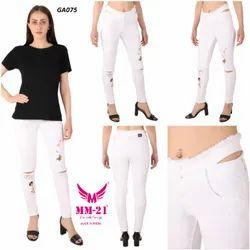 Mm-21 Skinny Cotton Denim Kneecut Embroidery Raw Hem Distressed Jeans For Women, 10