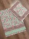 Cotton White Base Block Print Double Bed Sheet With Pillow Cover