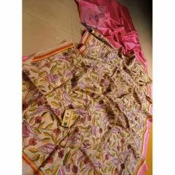 Pure Hand Kantha Stitch Half Bengal Tussar Silk Sarees, 6.5 m With Blouse Pieces