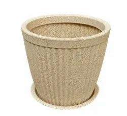 Beige Paris Round Pot With Tray