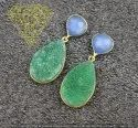 Blue Chalcedony With Green Druzy Gold Plated Earning
