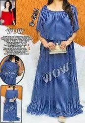 Printed Western Wear Georgette Ladies Designer Dress, 18 To 50