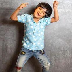 Cotton Half Sleeves Thiya Polka Dot Printed Kids Casual Shirt