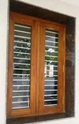 Modern Brown Wooden Windows, Rectangular