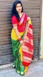 Present Silk Bandhej Good Looking Saree With Banarasi Weaving Border