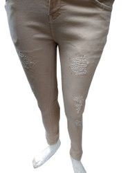 Slim Button Ladies Grey Casual Wear Dobby Jeans, Waist Size: 28