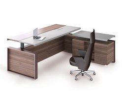 Brown(Table) Wooden L Shape Office Furniture