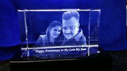 White 3d Crystal Personalized Gift, Size: 60x60x100 Mm