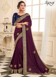 Designer vichitra zari border saree