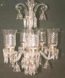 Candle-Style Fluorescent Bulb Classic Crystal Chandelier