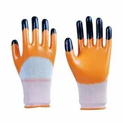 SS & WW Make White Nylon Shell With Orange Nitrile Three Fourth Dipped Hand Gloves