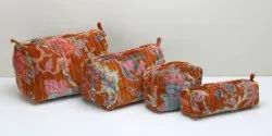 Cotton Velvet Quilted Cosmetic Bag Pouch, Make Up, Block Printed Toiletry, Travel Bag with Pockets