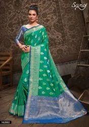 Zari Border Banarasi Silk Designer Jacquard Saree, Machine wash, With blouse piece