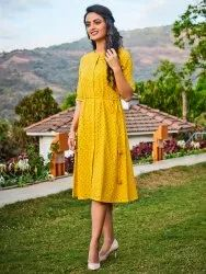 Janasya Women's Mustard Cotton Kurta(J0083)